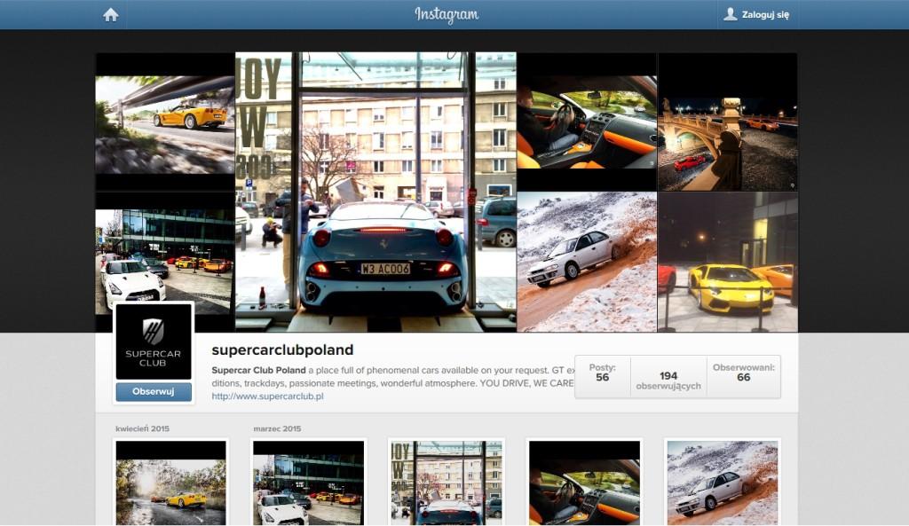 Profil Supercar Club Poland naInstagramie